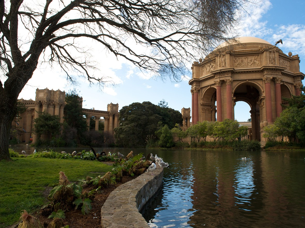 gardens and pond outside of the Palace of Fine Arts in San Francisco, California, USA