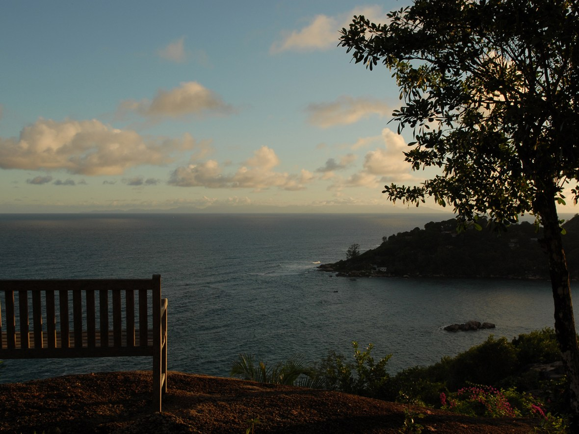 the sunset over the island of Praslin in the Seychelles