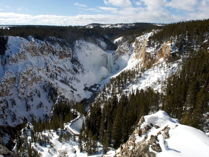 the grand canyon of Yellowstone in winter, Wyoming, USA