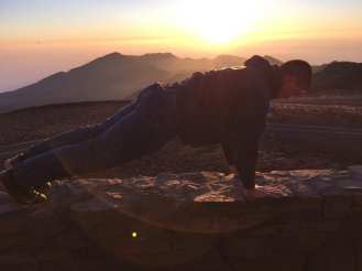 Daily 30 Push Up exercise on volcano