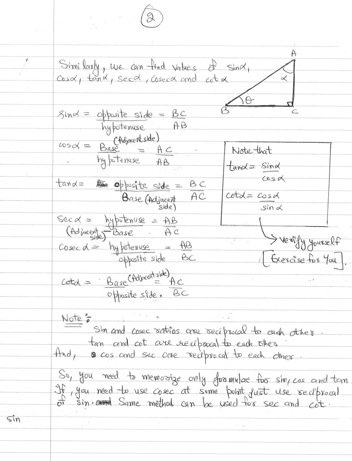 How To Learn Six Basic Trigonometric Ratios Sin Cos Tan