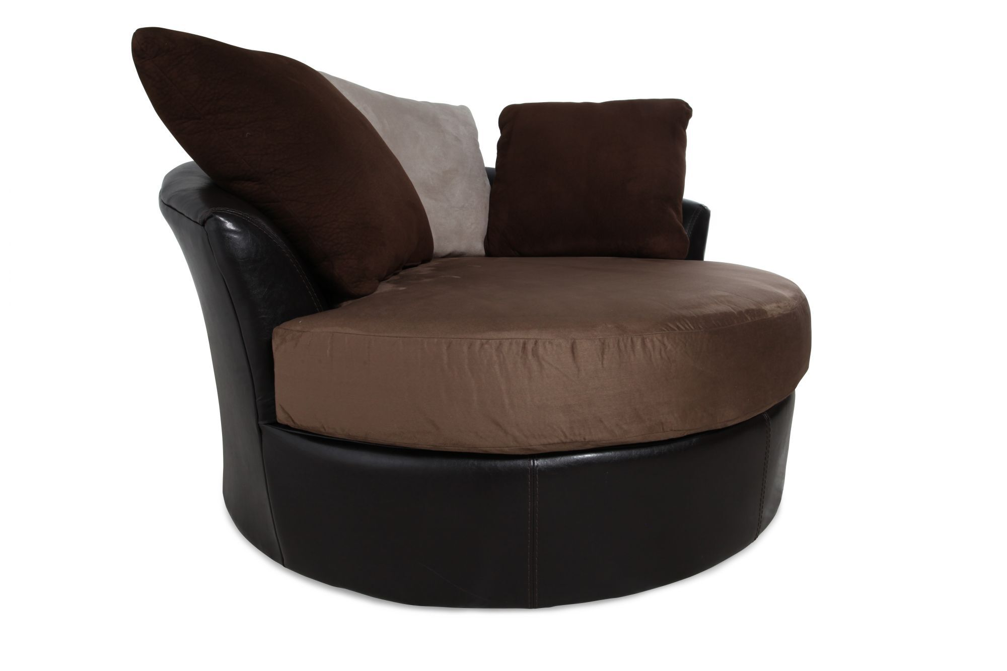 Circle Swivel Chair Round Microfiber 58 Quot Swivel Chair In Mocha Mathis