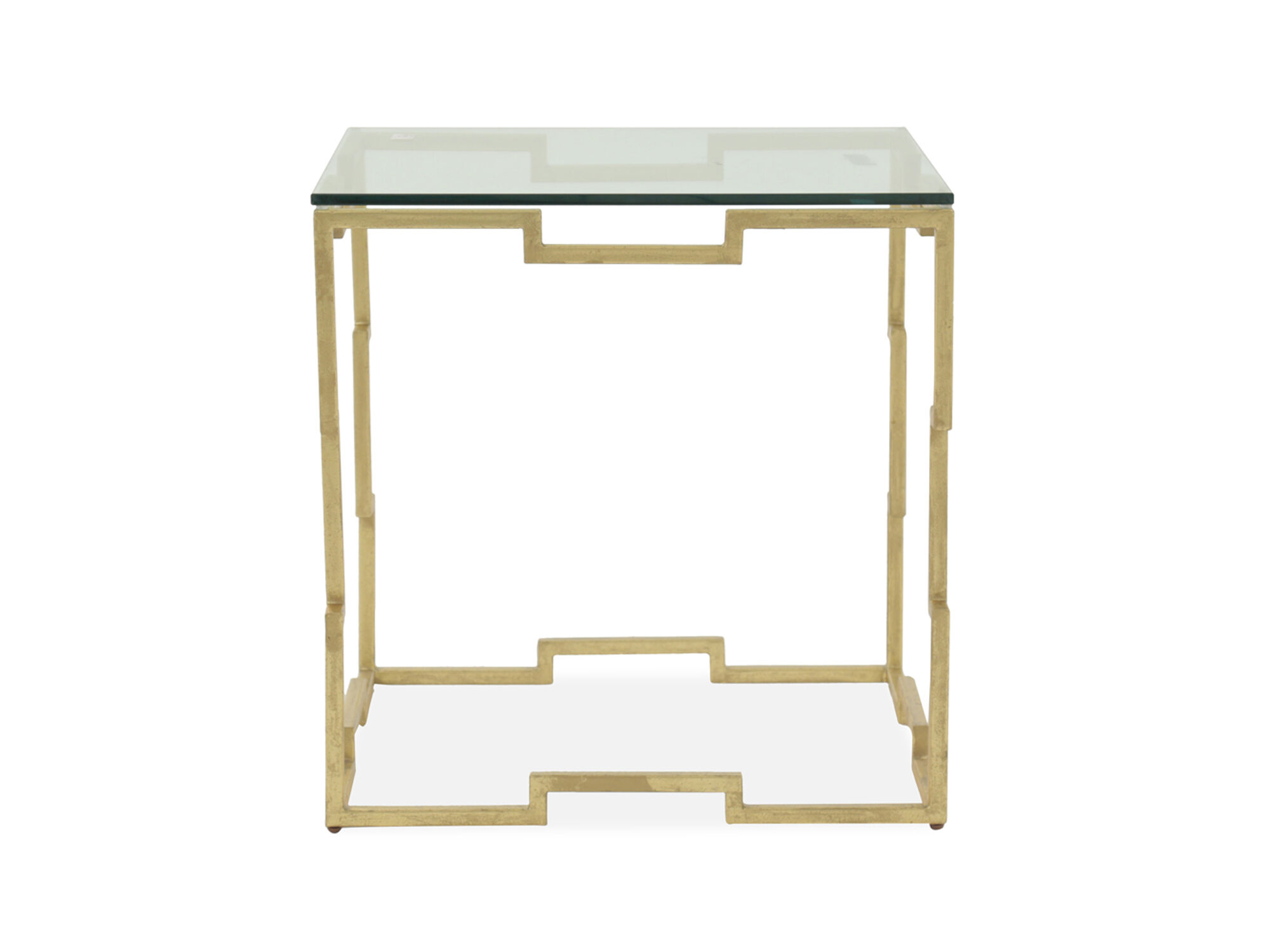 Glass Top Rectangular Contemporary End Table In Gold Leaf