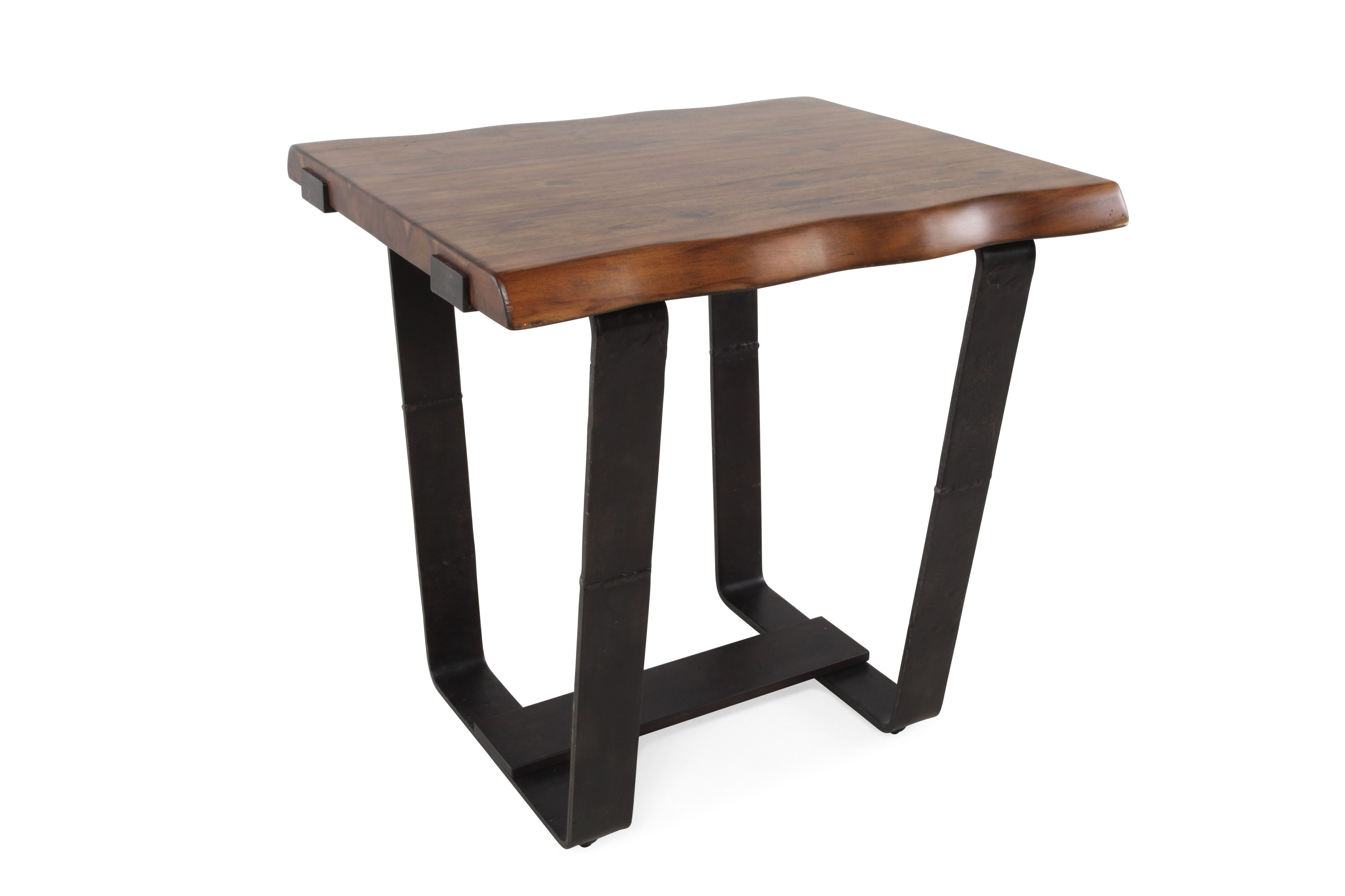 Plank-Top Solid Wood End Table In Brown