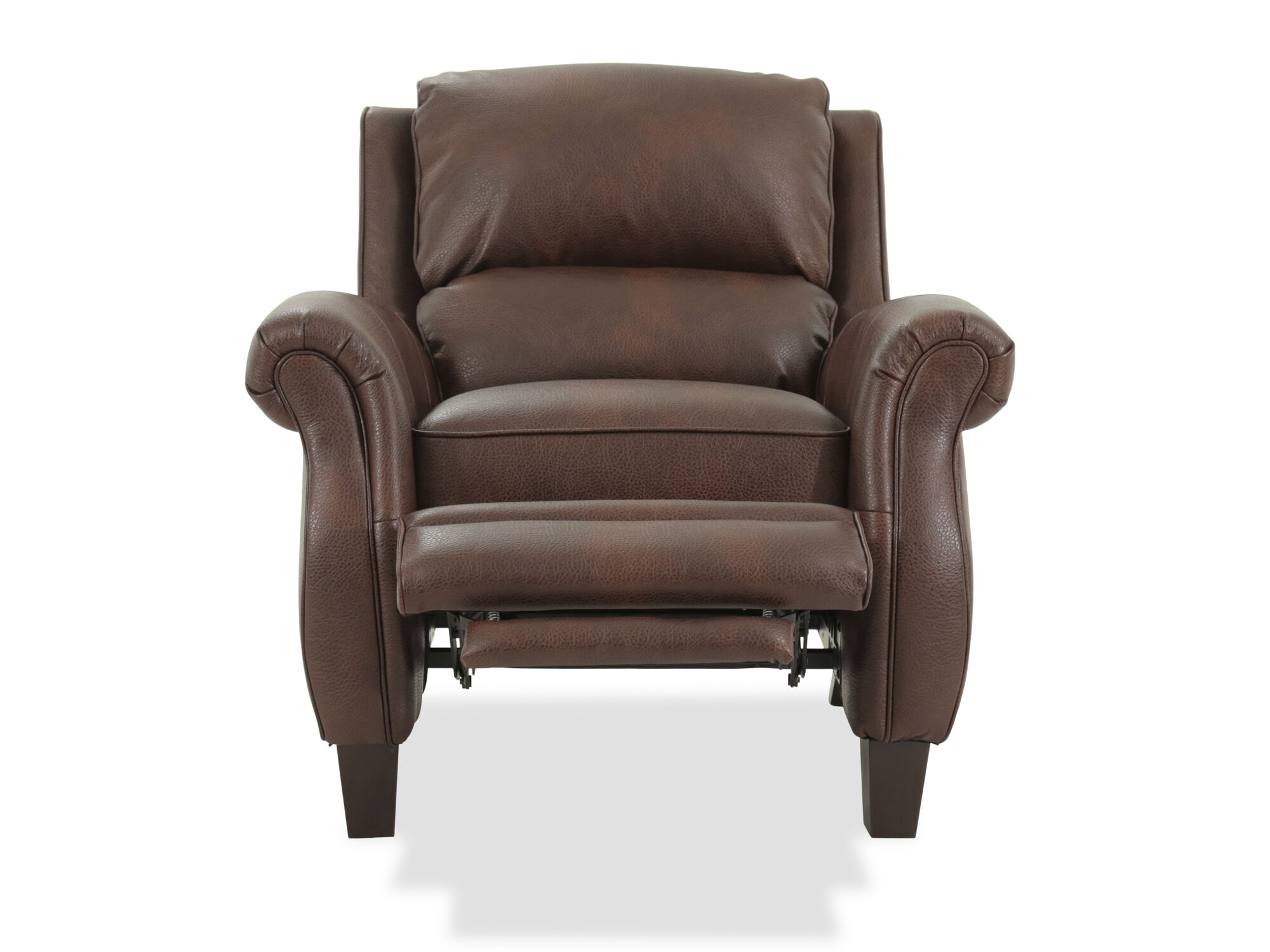 Push Back Chair Leather Free Standing Push Back Recliner In Brown Mathis