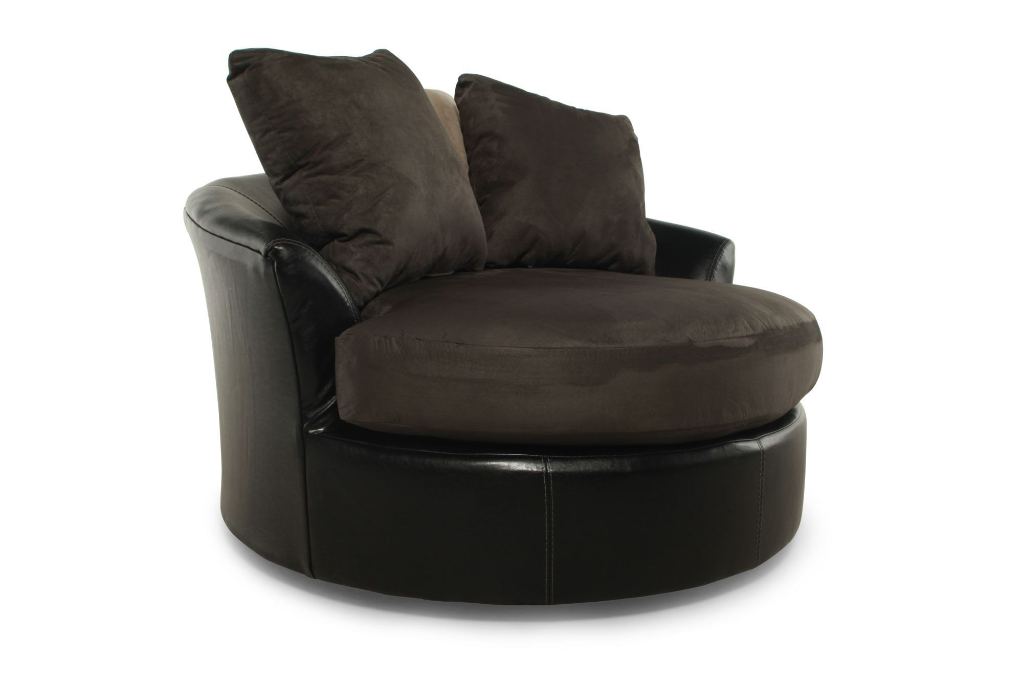 Circle Swivel Chair Round Microfiber 58 Quot Swivel Chair In Chocolate Mathis