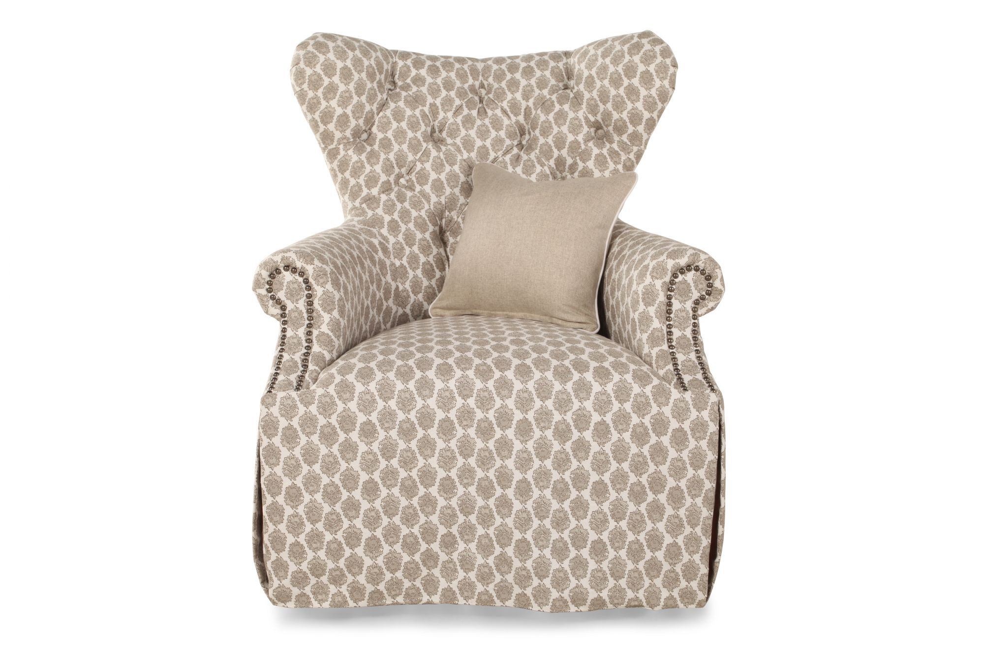 Floral Wingback Chair Floral Printed Skirted Wing Chair In Beige Mathis