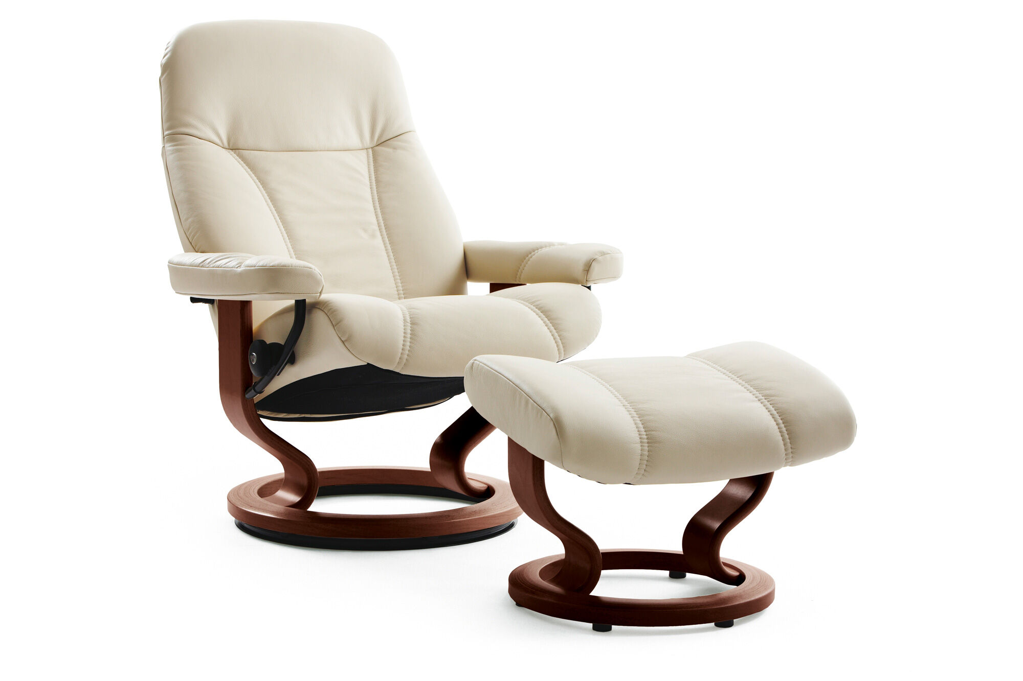 Cream Chairs Leather Medium Swivel Chair And Ottoman In Cream Mathis