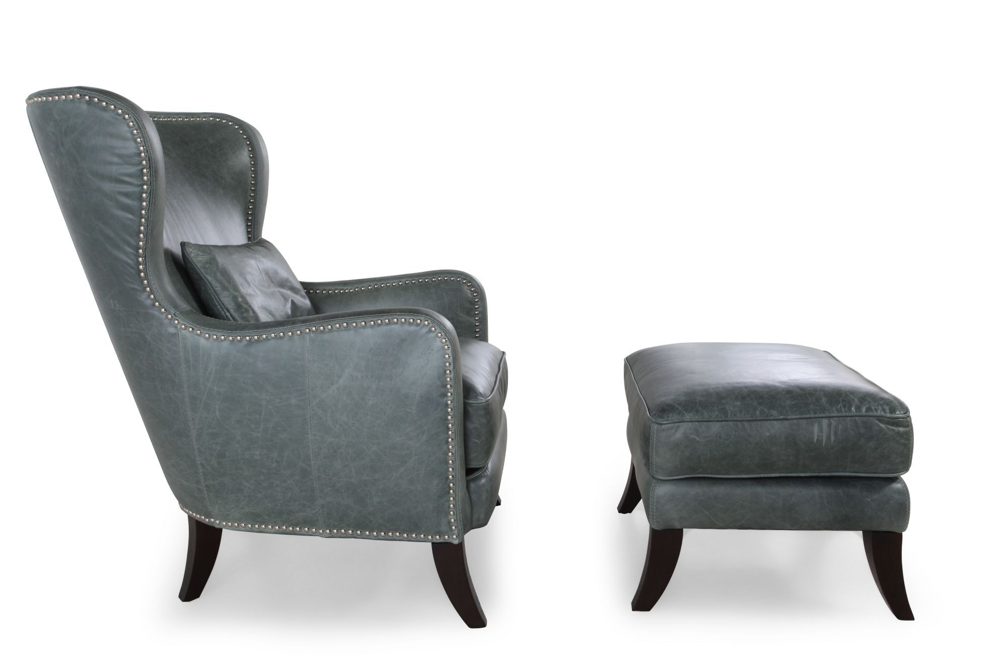 Teal Leather Chair Leather Chair And Ottoman In Teal Mathis Brothers Furniture