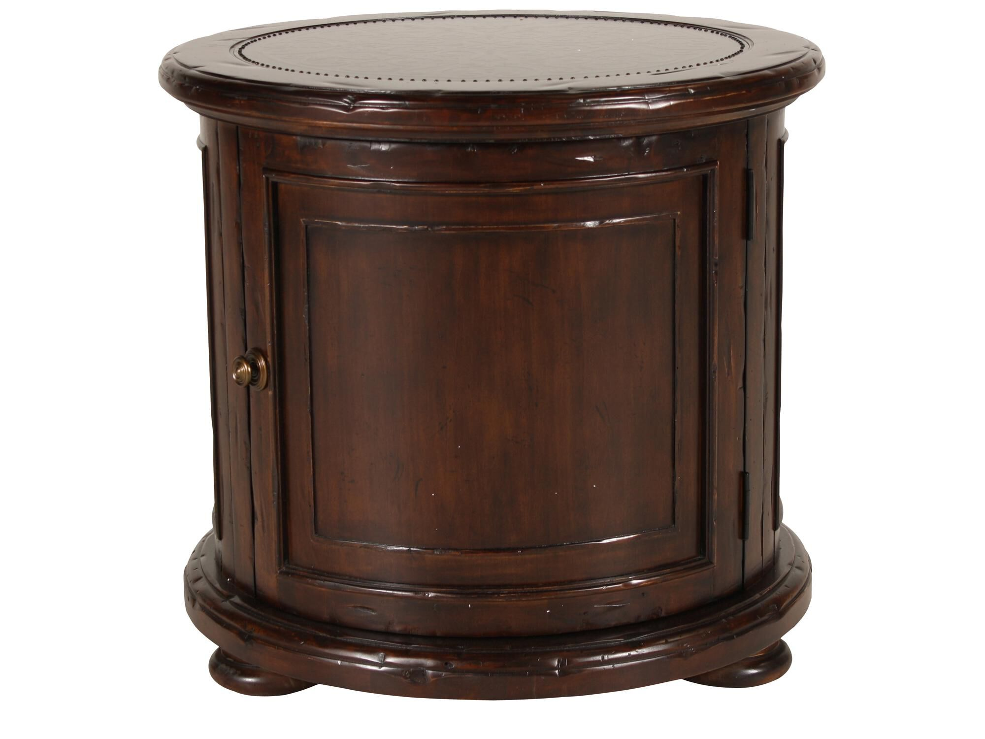 Distressed Round Traditional Drum Table In Deep Brown