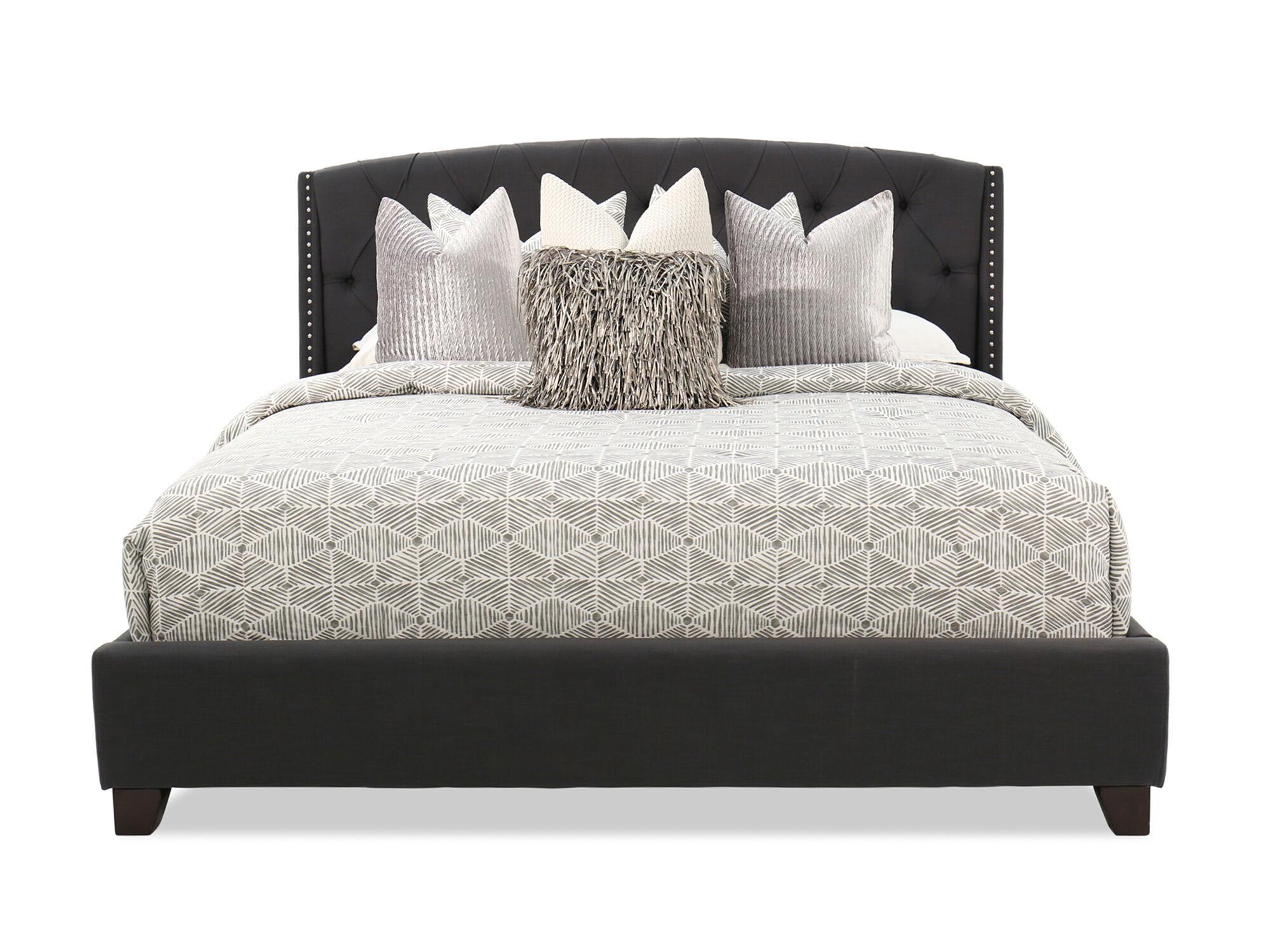 "55"" Contemporary Button Tufted Bed In Dark Gray"