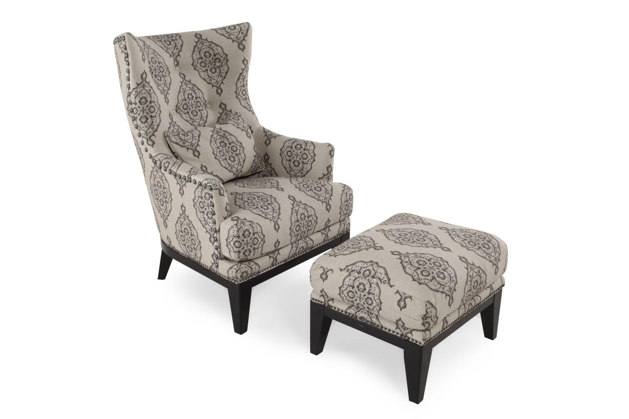 Patterned Chairs Patterned Contemporary Accent Chair And Ottoman Mathis