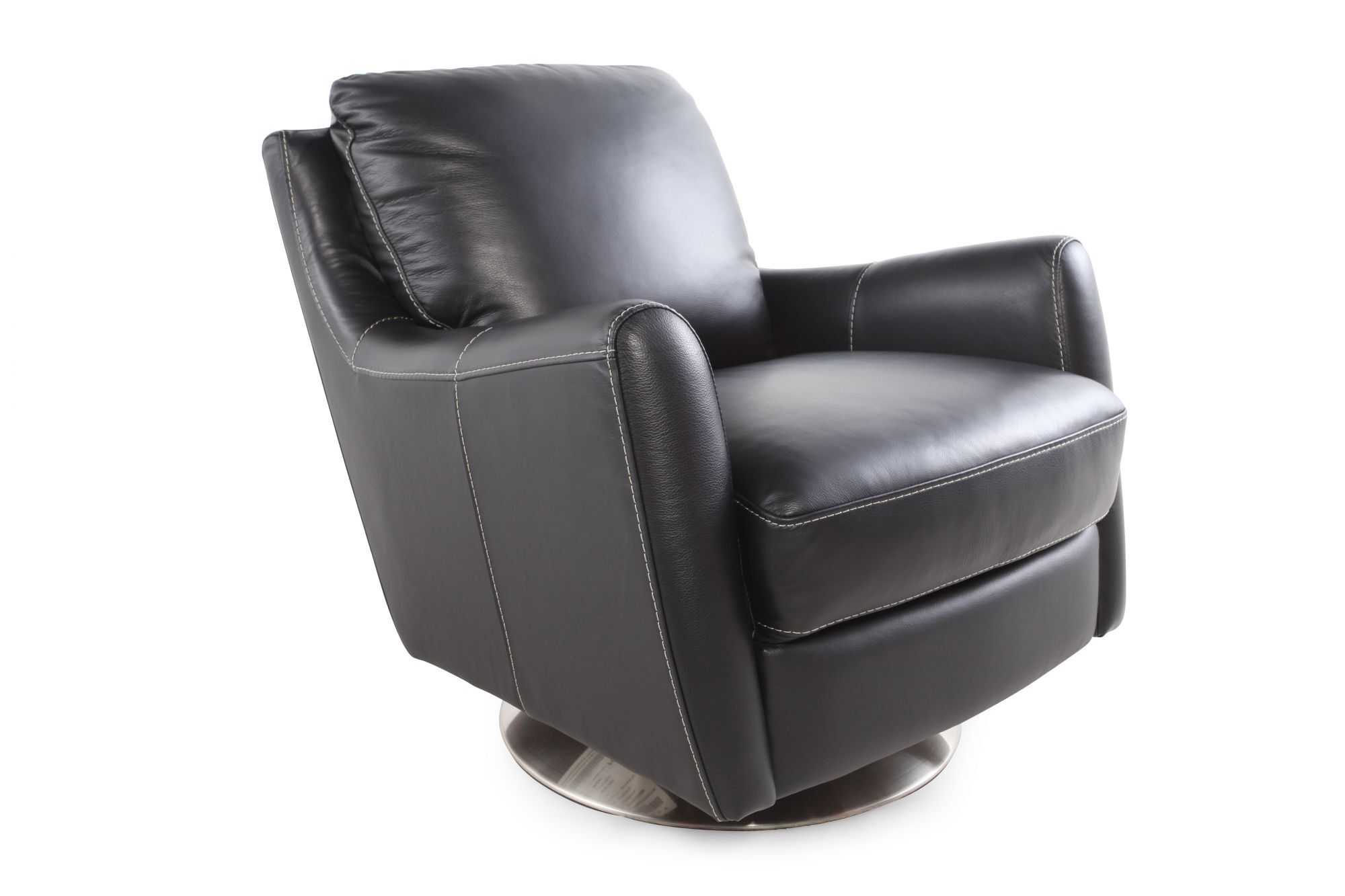 Black Swivel Chair Track Arm Swivel Chair In Black Mathis Brothers Furniture