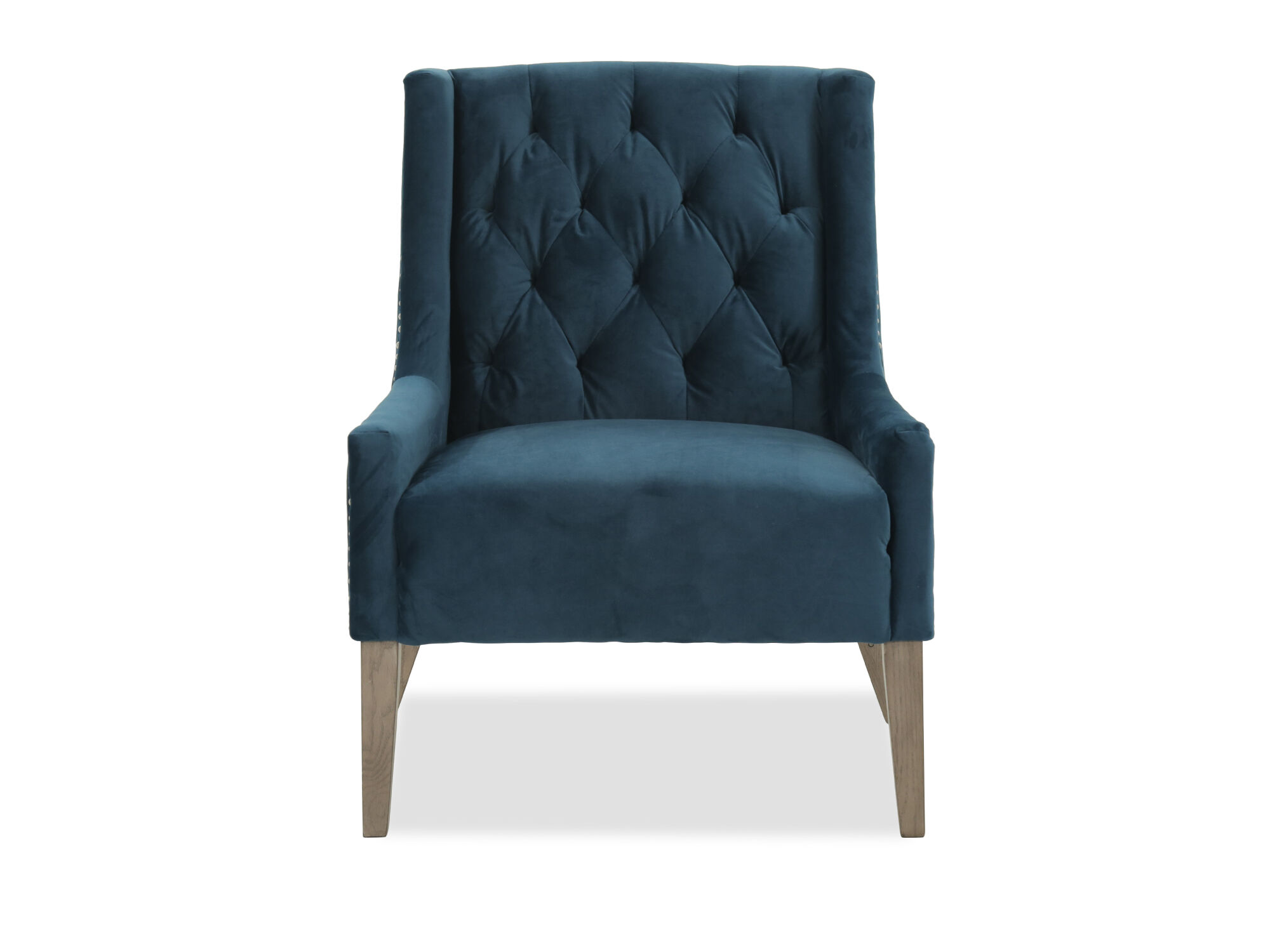 Accent Chair Blue Tufted Casual Velvet Accent Chair In Blue Mathis