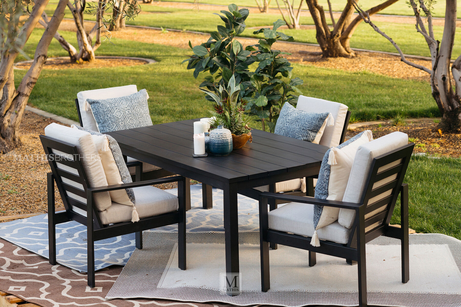 Black Patio Chairs Modern Aluminum Patio Dining Chair In Black Mathis