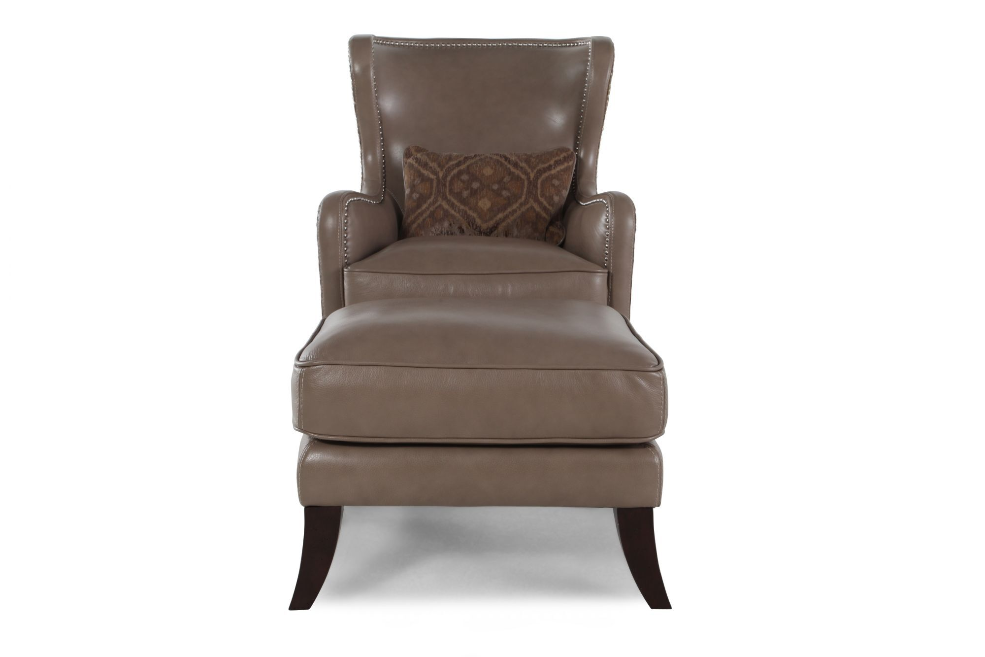Brown Leather Wingback Chair Leather Wingback Chair And Ottoman In Brown Mathis