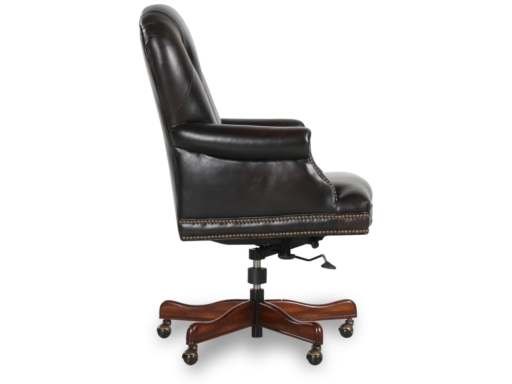 Tufted Leather Office Chair Leather Button Tufted Executive Swivel Tilt Chair In Dark Brown