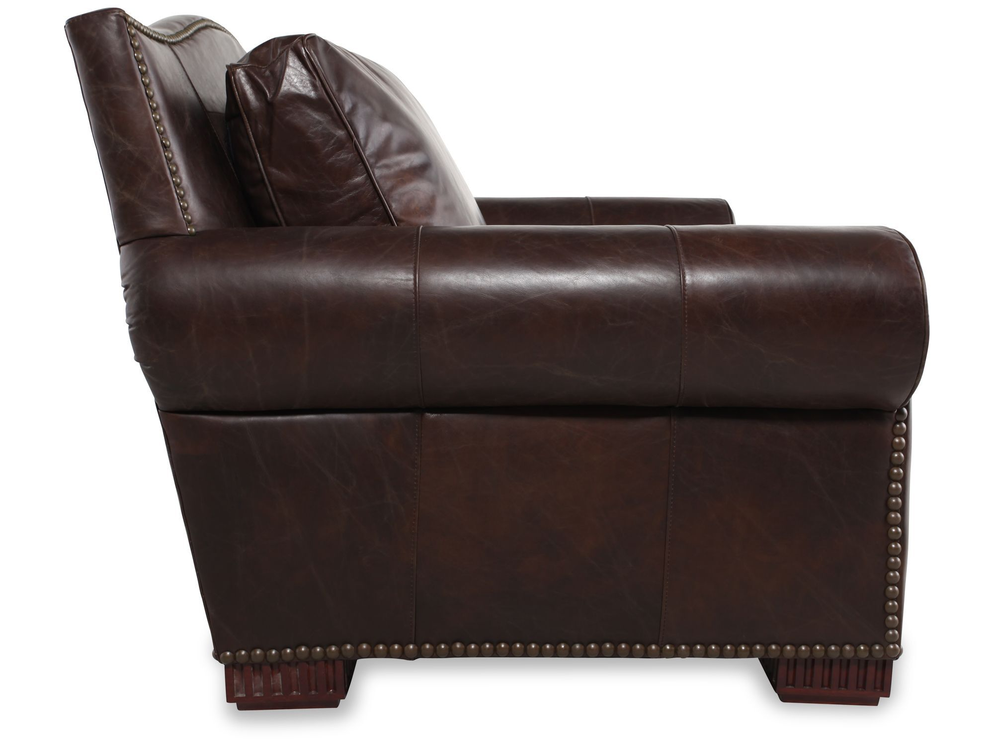 Henredon Chair Nailhead Trimmed Leather Chair And A Half In Dark Brown Mathis