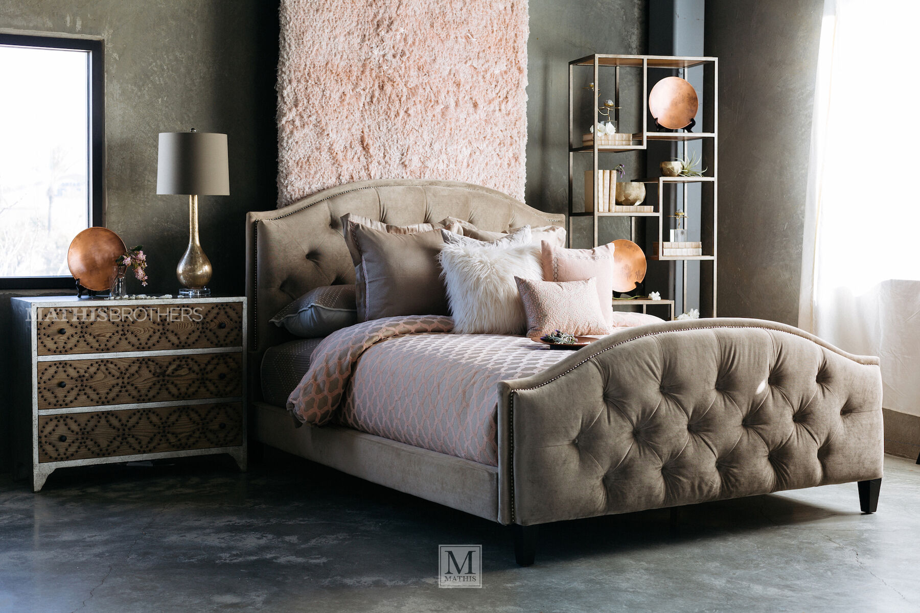 Transitional Button Tufted Bed In Beige