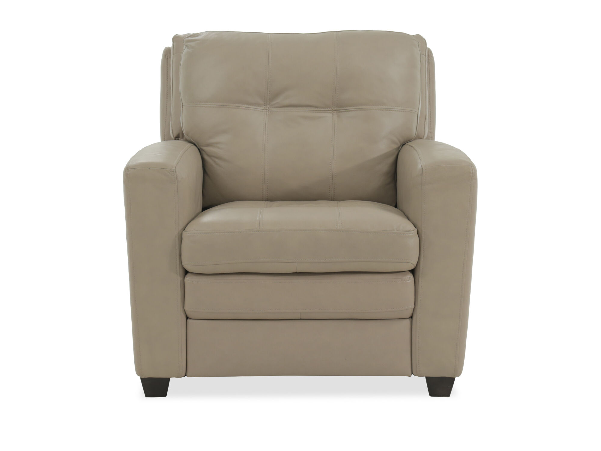 """Tufted Leather 36"""" Chair In Beige"""