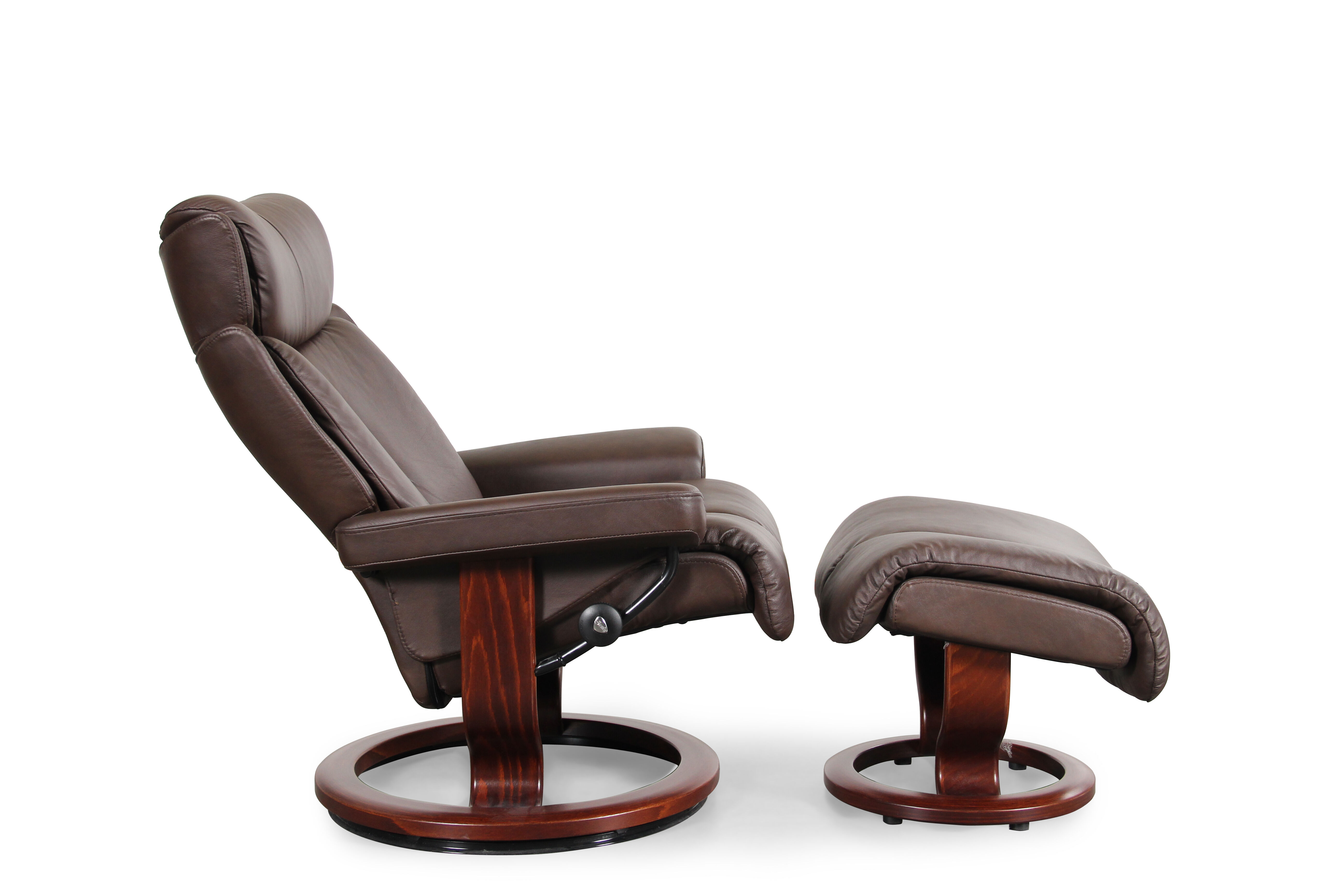 Contemporary Swivel Chairs Contemporary Medium Swivel Chair And Ottoman In Chocolate