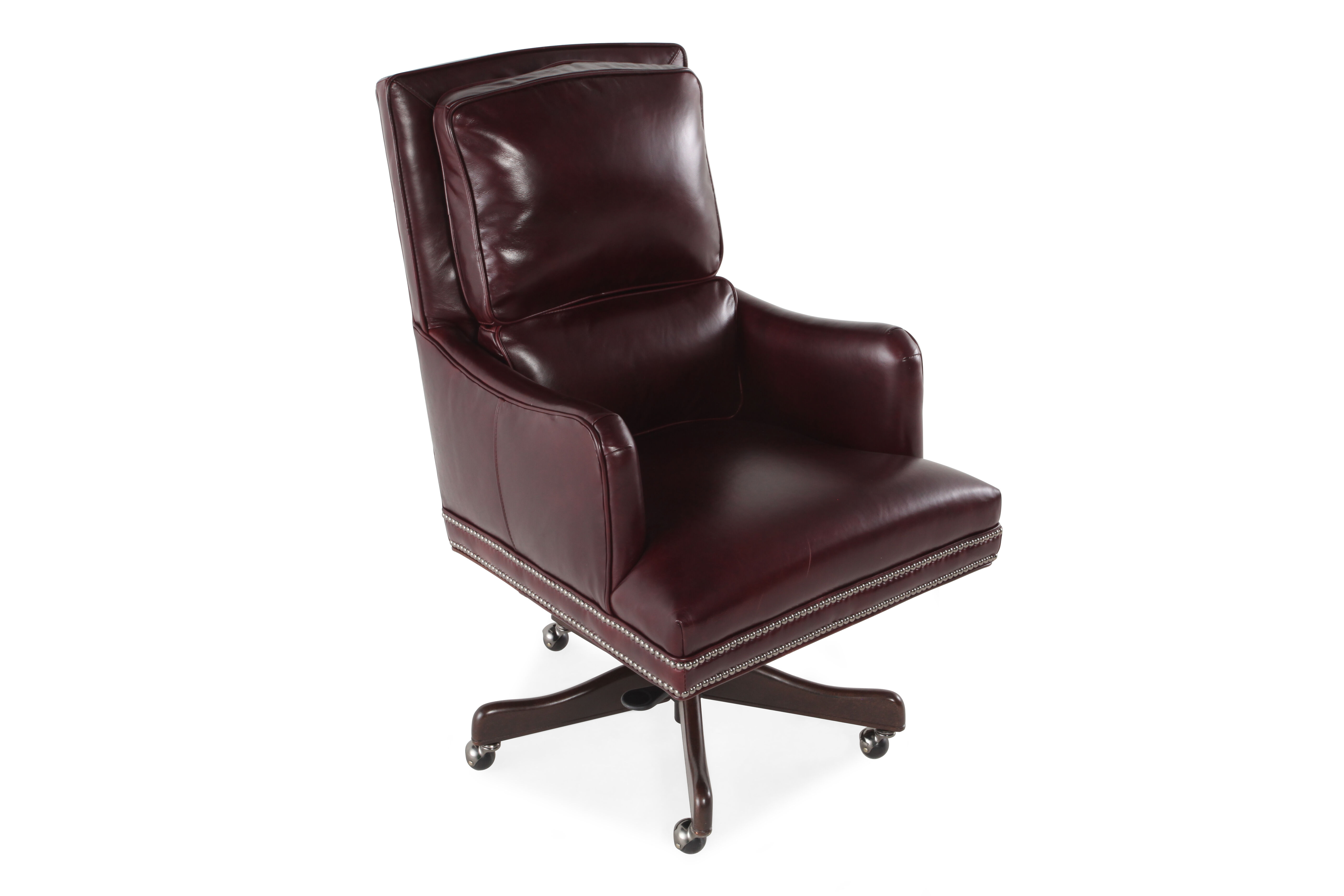 Burgundy Office Chair Leather Ergonomic Executive Office Tilt Chair In Dark