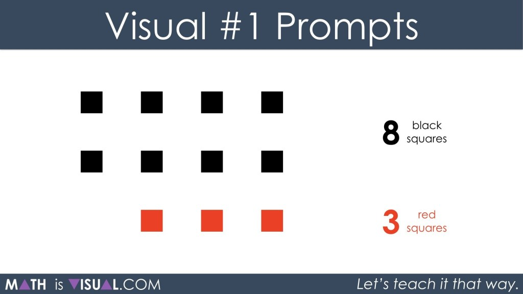 Adding Positive and Negative Integers Visual Prompts 1a - 8 black plus 3 red