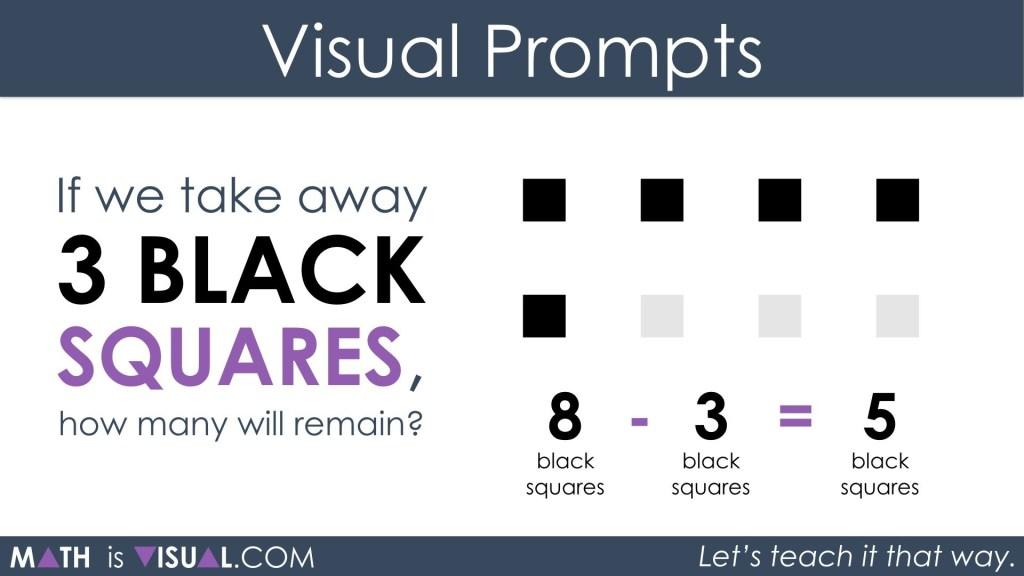Subtracting Positive and Negative Integers 1b - 8 black minus 3 black equals 5 black v2