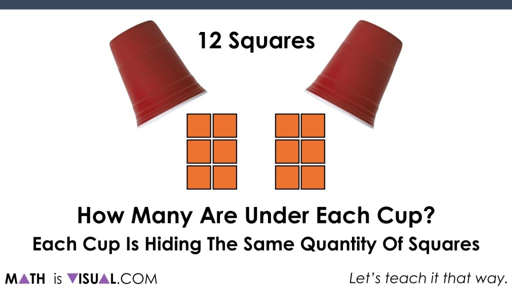 Solving One-Step Equations Visually.014 revealing 6 under each cup