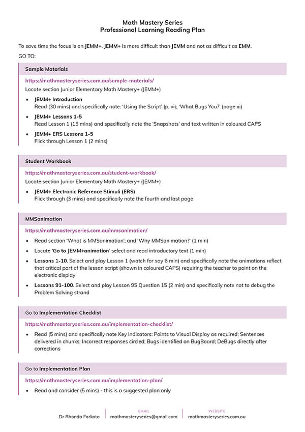 Professional Learning Reading Plan