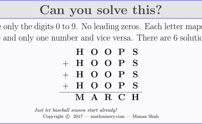Cryptarithmetic Puzzle 64 College Hoops Math Misery