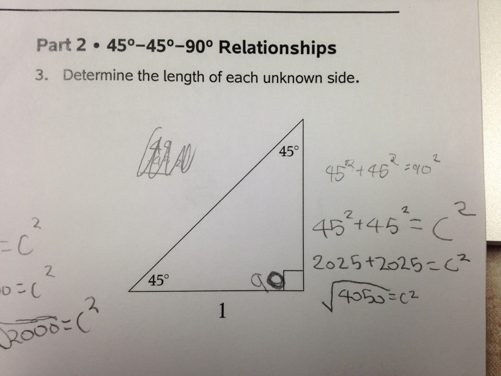 Special Right Triangles Math Mistakes