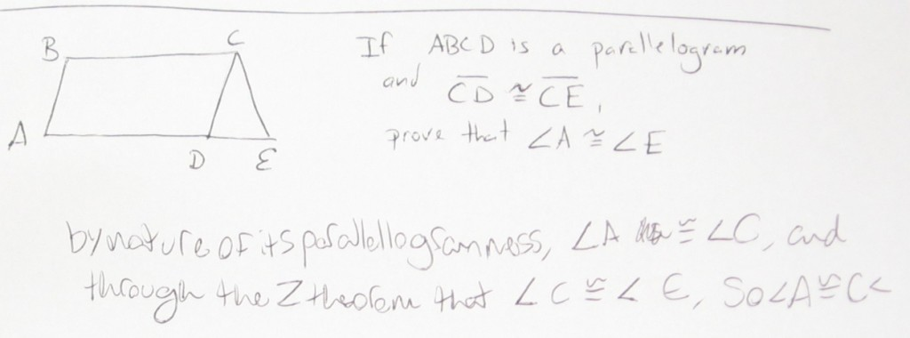 If ABCD is a parallelogram…Prove that angle A is congruent