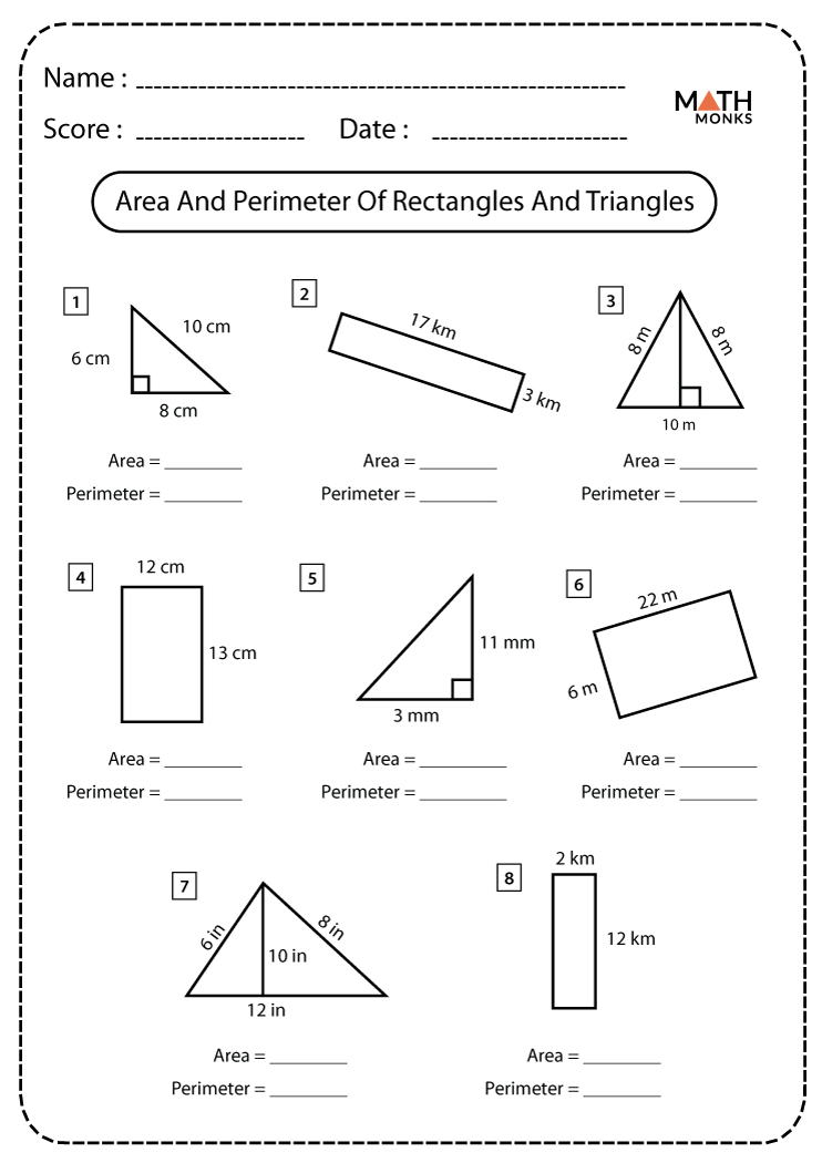 Rectangles And Triangles Worksheets