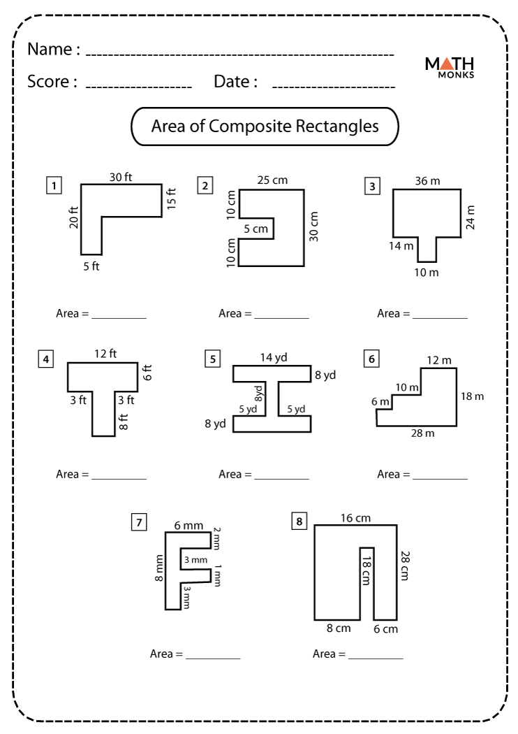 hight resolution of Area of Composite Figures Worksheets   Math Monks