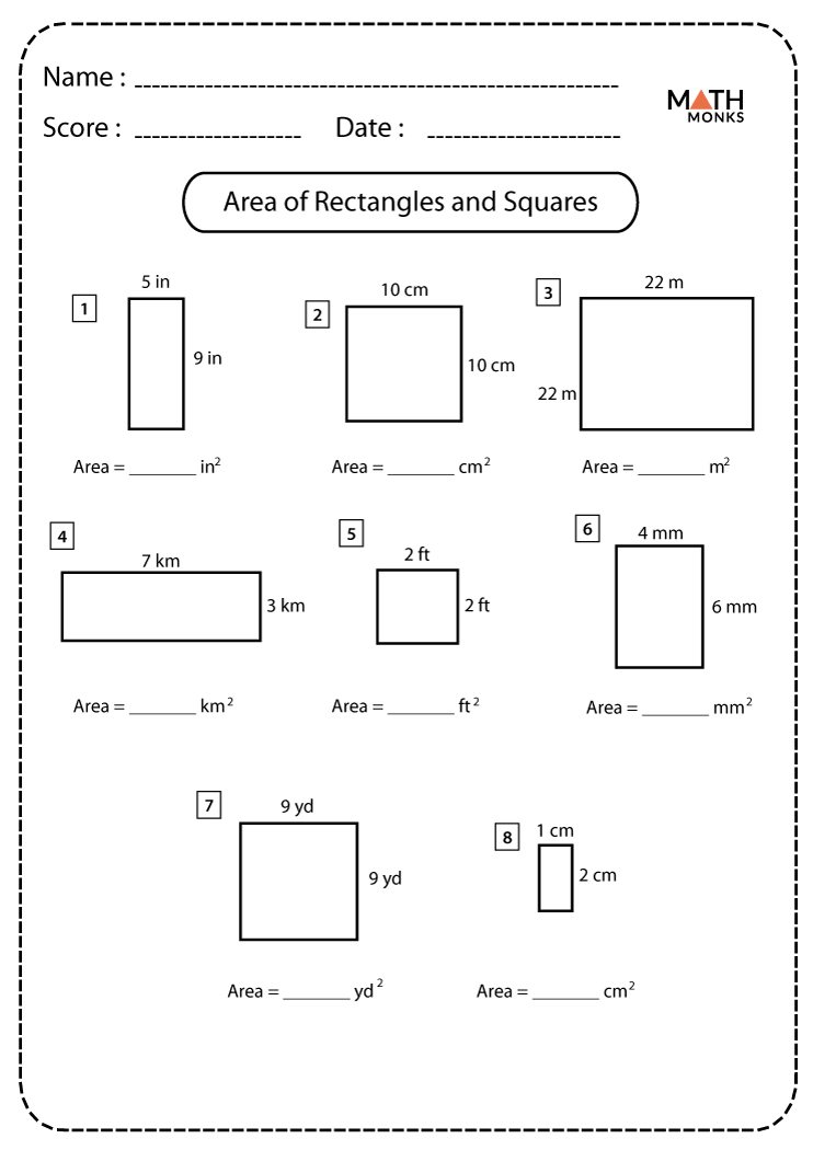 medium resolution of Squares and Rectangles Worksheets   Math Monks