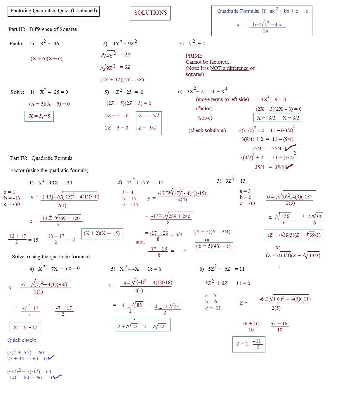 Quadratic Formula Worksheet Easy