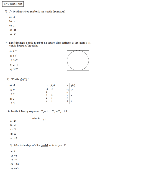 small resolution of Sat Math Worksheets Pdf   Printable Worksheets and Activities for Teachers