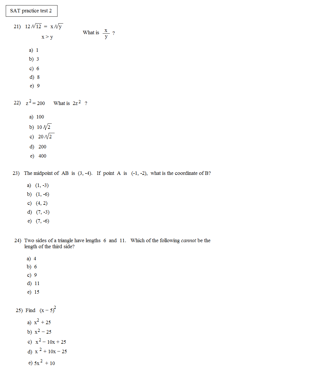 Test 1 Official Sat Answers