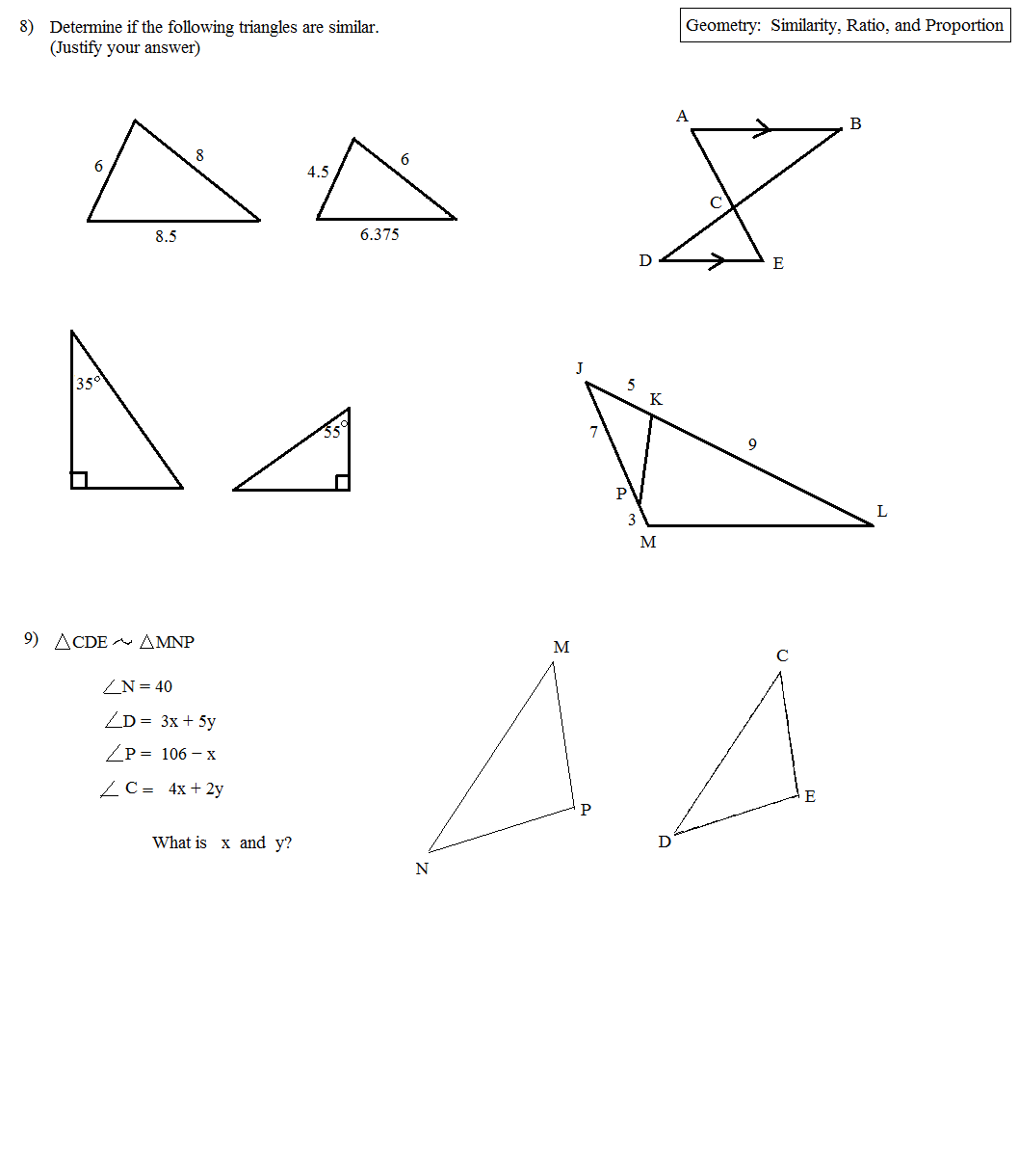 Worksheet Proportions And Similar Triangles Worksheet