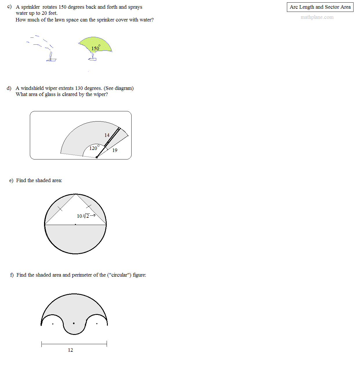 Lesson 11 3 Problem Solving Sector Area And Arc Length