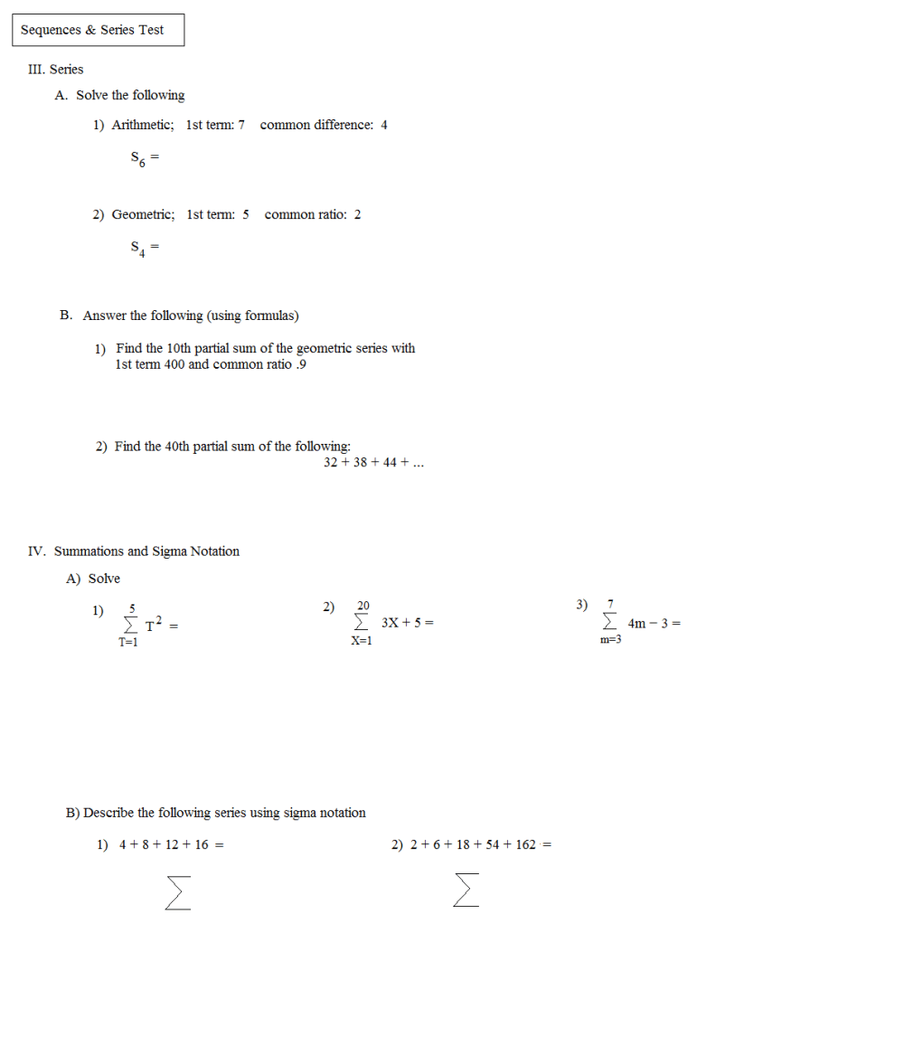 medium resolution of Partial Sums Worksheet   Printable Worksheets and Activities for Teachers