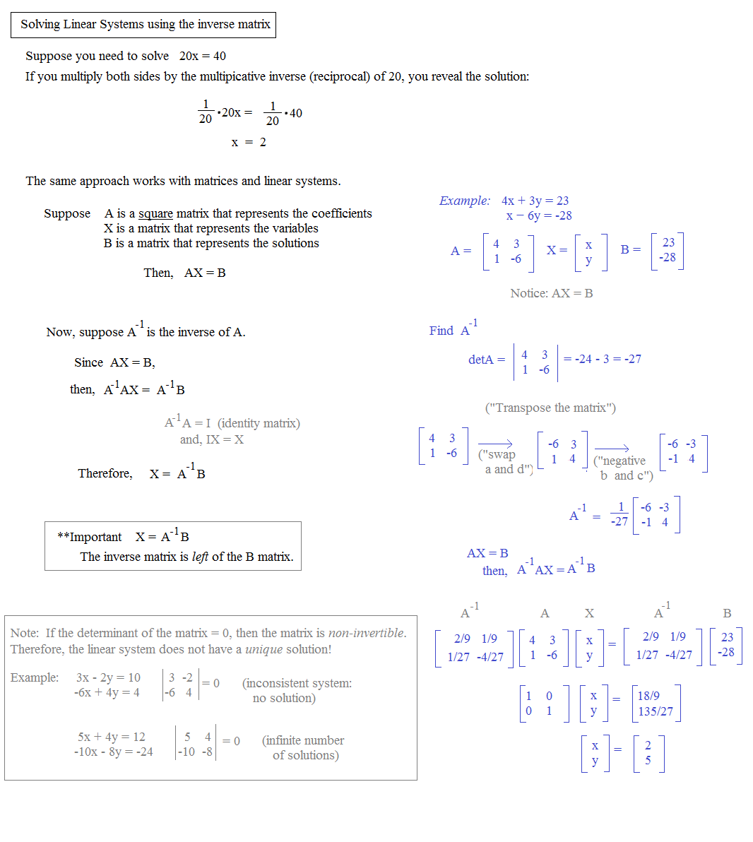 Solving Systems Of Equations Inverse Matrices