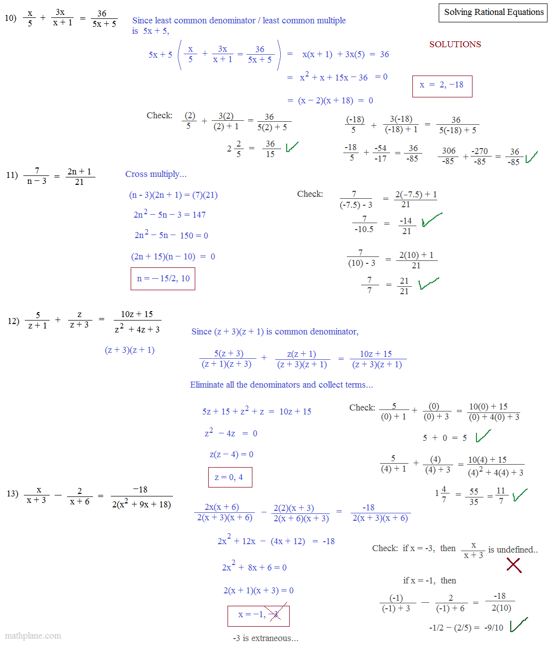 11 6 Practice Solving Rational Equations Answer Key