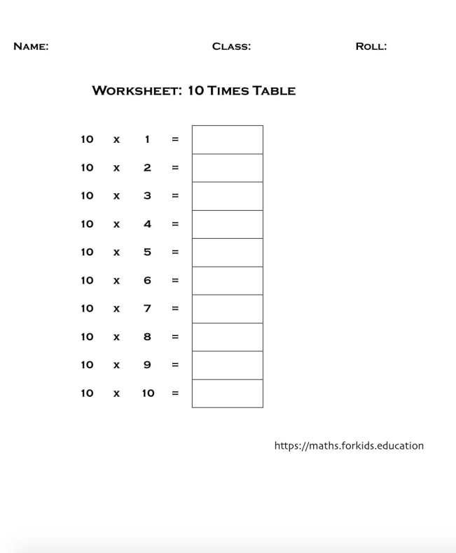 worksheet table 10-min