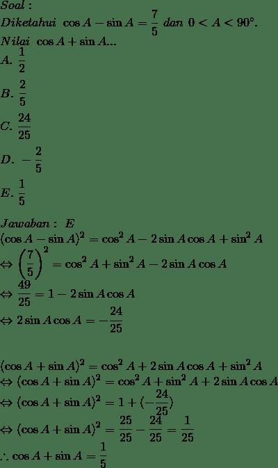Soal Dan Pembahasan Identitas Trigonometri Lanjutan
