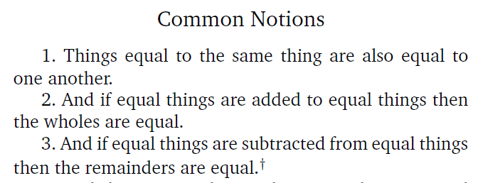 Before the beginning – Euclid's Common Notions