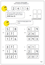 Column Addition And Subtraction Missing Number Worksheets