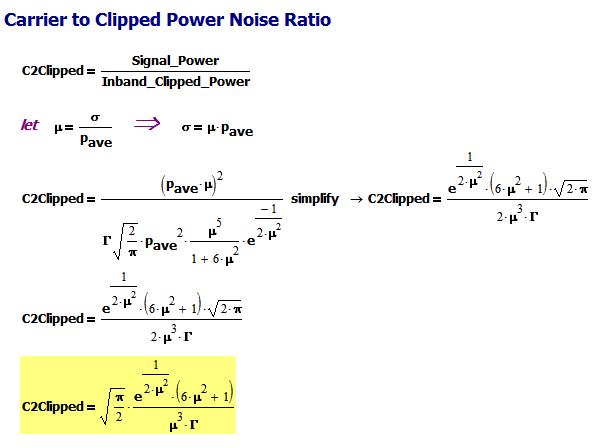 Figure 6: Derivation of Carrier-to-Clipped Power