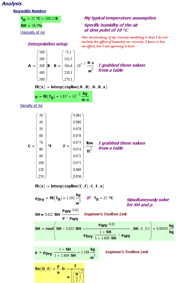 Figure 3: Calculation Setup and Reynolds Number Determination.